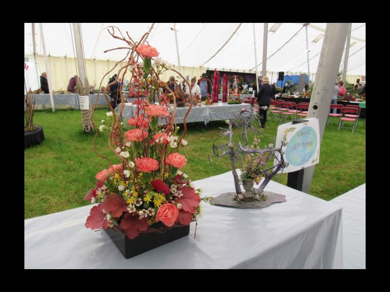 Entries in the floral arrangement competition